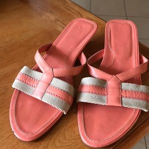 TOD'S coral pink slip on sandles size 40